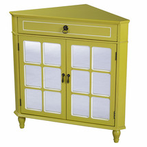 32' Yellow Wood Mirrored Glass Corner Cabinet with a Drawer and 2 Doors - $497.64
