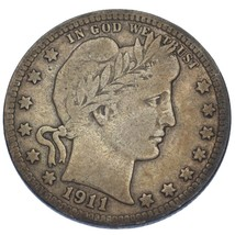 1911-D Barber Quarter Dollar 25C (Fine, F Condition) image 2