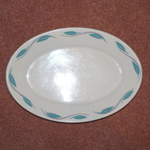 VINTAGE HOMER LAUGHLIN RESTAURANT WARE TURQUOISE LEAVES GRAY SWIRLS PLATTER - $25.00