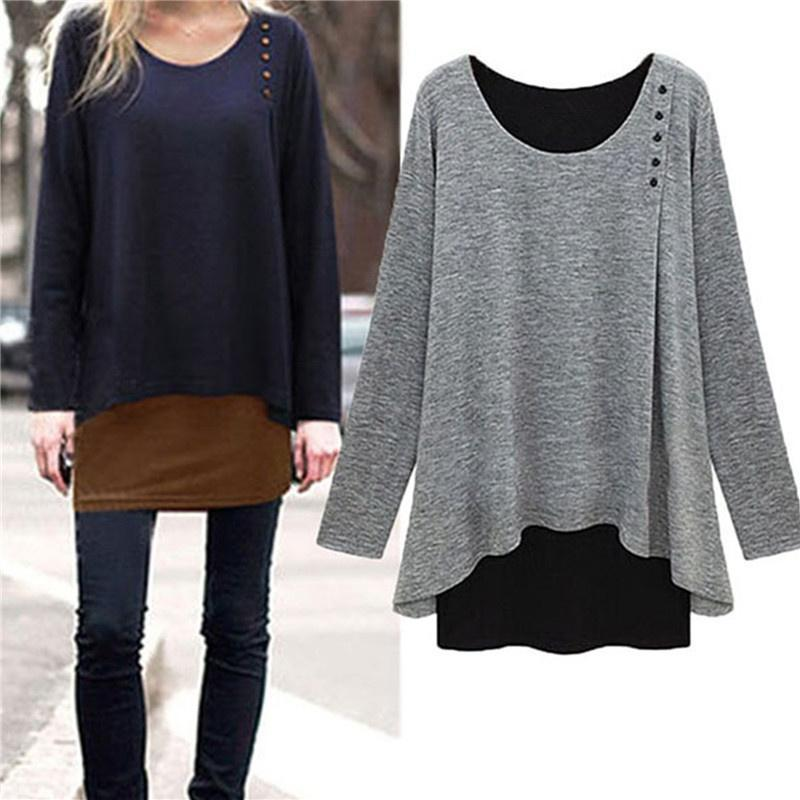 Grey / Navy Blue Plus Size Women Ladies Asymmetry Hem Long Sleeve Blouse Loose F
