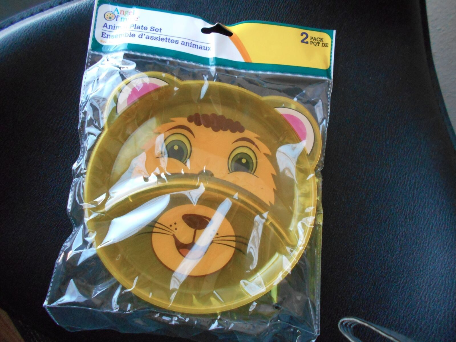 New Angel of Mine 2 Pack Divided Animal Plate Plastic Lion Cub Yellow