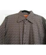 Ben Sherman Shirt XL Brown & White Circles Long Sleeves Cotton Lycra  Vi... - $24.95