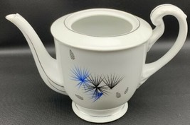 HAKUSAN JAPAN 9613 Teapot BLACK & BLUE STARBURSTS PLATINUM TRIM 3548 - $33.24