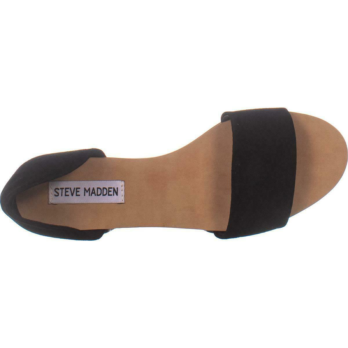 Steve Madden Corey Slip On Flat Sandals 271, Black Suede, 6 US image 2