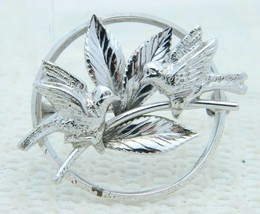 VTG .925 Sterling Silver CARL ART Two Bird Leave Leaf Brooch Pin - $39.60