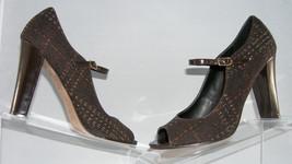 Steven by Steve Madden Konnie brown mary jane peep toe fabric shoe womens heel - $9.31