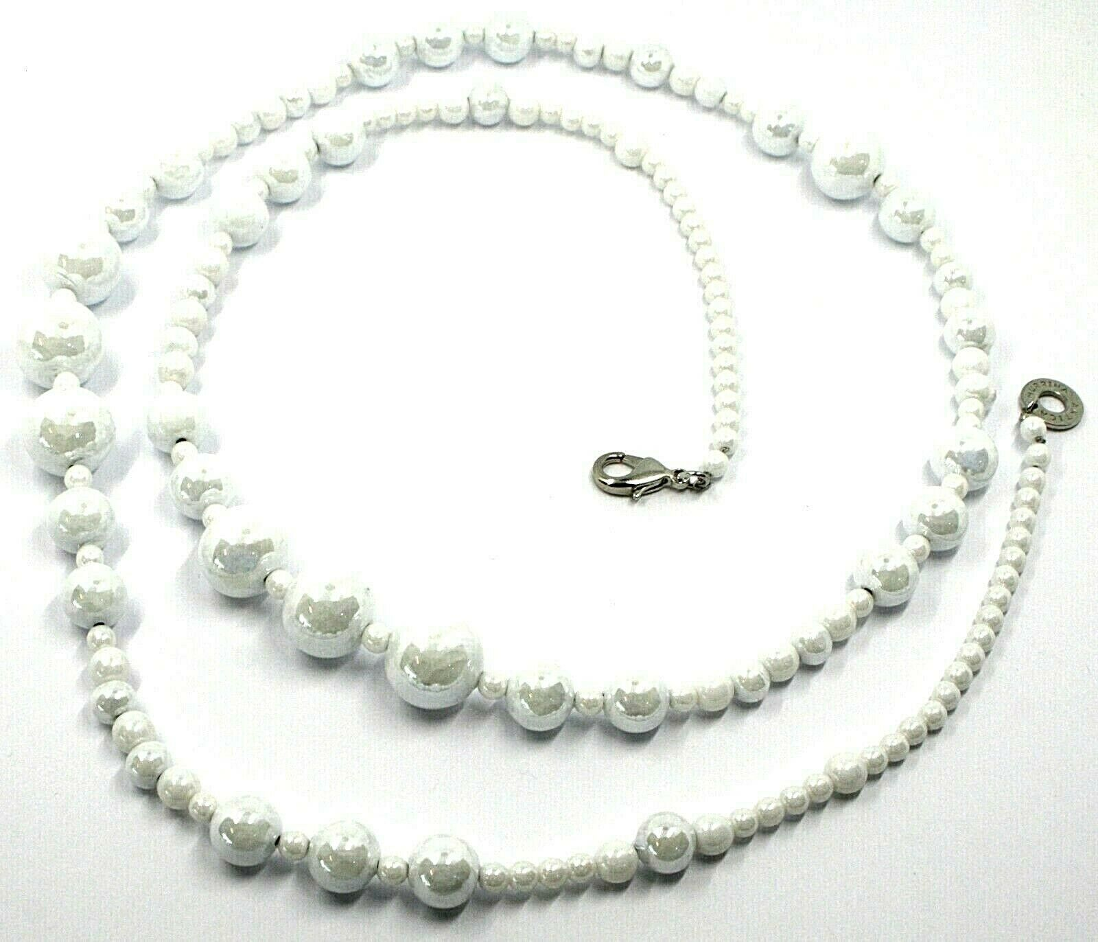 Necklace Antica Murrina Venezia, CO971A01, Spheres White, Length 90 CM