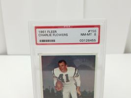 1961 Fleer Football Charlie Flowers #156 PSA 8 NM-MT San Diego Chargers Card image 3
