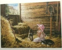 "SUNSOUT ""Dear God It's Me"" 500 pc Puzzle Girl Praying Barn Animals - $16.95"