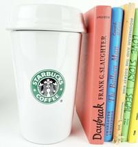 "Starbucks Ceramic Coffee To Go Cup Canister Cookie Jar 8 1/2"" Mermaid Logo 2000 - $29.44"