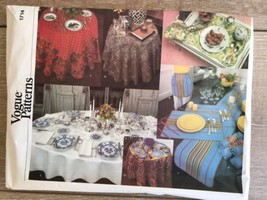 Vogue Patterns Sewing Pattern 1714 Table Linens 29 pieces Cut - $9.89