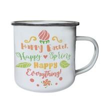 Happy Easter Happy Spring Happy Everything Retro,Tin, Enamel 10oz Mug j930e - $13.13