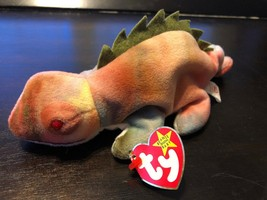 Rare Retired Ty Beanie Baby Rainbow Iggy Tie Dye Wrong Color Error, Tag Erro Rs - $282.14