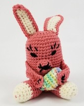 """Handmade Crocheted Pink Easter Bunny Plush Stuffed Toy Animal with Egg 12"""" - $19.79"""