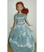 Disney red hair princess freckled doll in light blue satin down - $7.97