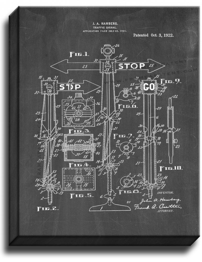 Primary image for Traffic Signal Patent Print Chalkboard on Canvas