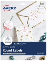 New Avery 22817 2 Inch Diameter Round Glossy White Print To The Edge Labels 60