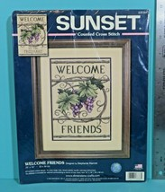Sunset Welcome Friends Grapes Counted Cross Stitch Kit 2006 Dimensions #13733 - $9.95