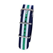 22mm Nato Canvas Nylon wrist watch Band strap 1.1mm x 255mm GREEN WHITE ... - $14.22