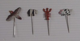 Vintage miniature metal hand painted animal pins circa 1960s new from ol... - $6.84