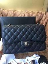 Authentic NEW Chanel Black Jumbo Caviar Double Flap Bag Silver Hardware Receipt image 2