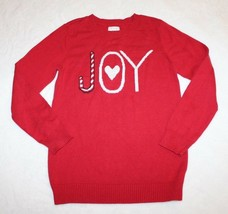 Children's Place Girls Sweater Size M 7 8 Red Joy Candycane Holiday Chri... - $21.55