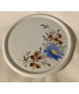 ANTIQUE PORCELAIN TRIVET / HOT PLATE BLUE FLOWER GOLD GILT 19th C - $9.74