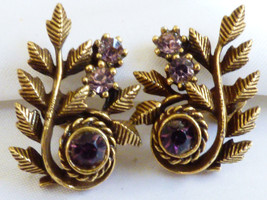 VTG CORO GOLD TONE METAL FLORAL LEAF AMETHYST CRYSTAL SCREW CLIP EARRING... - $33.26