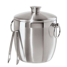 Stainless Steel Ice Bucket w Tongs 3L Double Walled Side Rings Innovativ... - €40,59 EUR