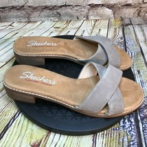 Skechers Womens Leather Open Toe Cross Strap Heeled Sandals Size 7 - $27.80