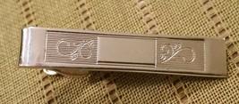 Vintage SHIELDS Silvertone Tie Clasp Tie Bar Tie Clip w fancy Inlay - $10.76