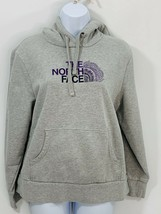 The North Face Womens size Large Gray Purple Logo Front Hoodie Sweatshirt - $26.29