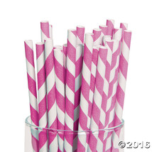 Hot Pink Striped Paper Straws (24 Pack) - $6.64
