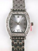 Charter Club Women's Silver-Tone Crystal Tonneau Case Bracelet Watch 28mm NEW image 3