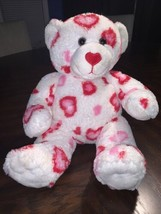 "Build A Bear Valentine's White Plush Bear Pink & Red Hearts 15"" - $13.85"