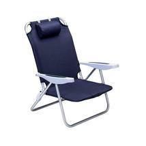 Folding Beach Chair with Headrest Blue Lightweight Comfort Relaxing Port... - $50.25