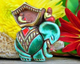 Vintage Elephant Rider Godfrey Houston Ceramic Art Figural Brooch Pin - $46.95