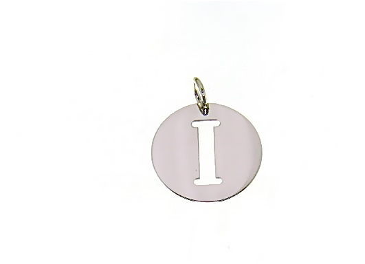 18K WHITE GOLD ROUND MEDAL WITH INITIAL I LETTER I MADE IN ITALY DIAMETER 0.5 IN