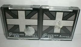 Rimmel London Glam Eyes HD Quad Eyeshadow Highlighter Black Cab #001 Lot... - $13.55