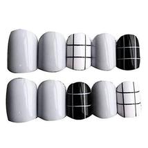Classic Grey/Black Round False Fingernails Artificial False Nails Tips Decor