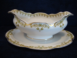 Theodore Haviland China white porcelain gravy boat with attached under plate - $25.00