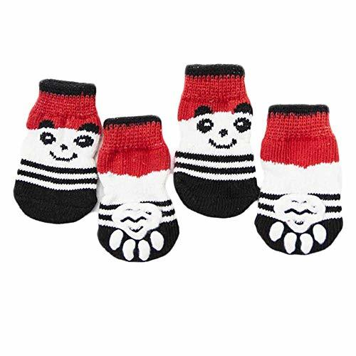 4 Pcs Red Panda Knitted Dogs Socks Cat Socks Cute Pet Socks Dog Paw Protection f