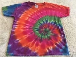 Gildan Boys Blue Purple Orange Red Green Swirl Tie Dye Short Sleeve Shirt 6 - $9.28