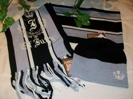 Juicy Couture Ladies Womens Hat Beanie Scarf $140 Black Gray NWT 2 pc Se... - $47.00