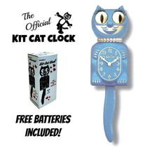 "Serenity Blue Lady Kit Cat Clock 15.5"" Free Battery Made In Usa Kit-Cat Klock - £48.81 GBP"