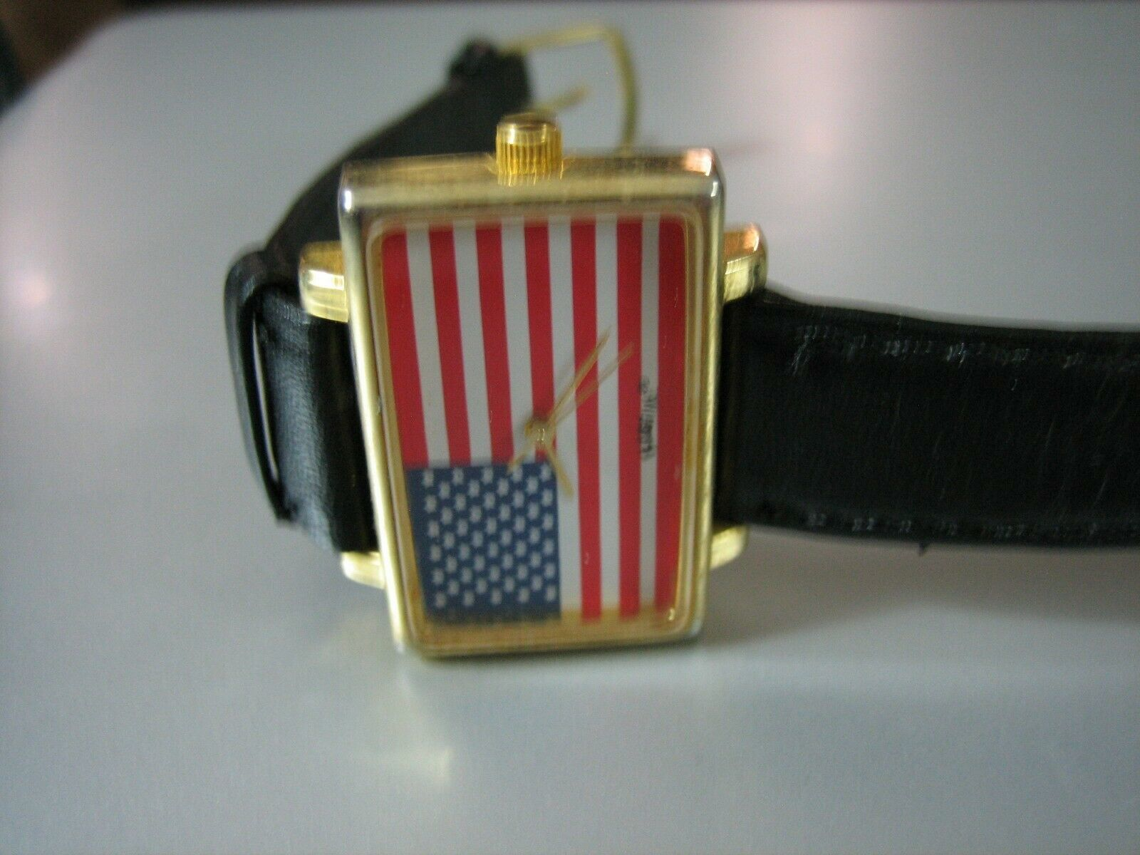 Vintage FlagTime Rectangle USA Flag Wrist Watch w/Black Leather Band