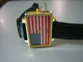 Vintage FlagTime Rectangle USA Flag Wrist Watch w/Black Leather Band - $19.79