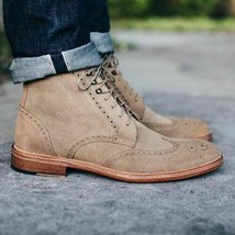 New Handmade Oxford Long boot Beige Color Brogue WingTip Suede Leather B... - $149.99+