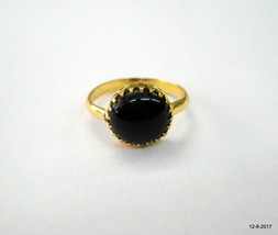 vintage 20kt gold ring Black Star gemstone ring handmade gold jewelry - $692.01