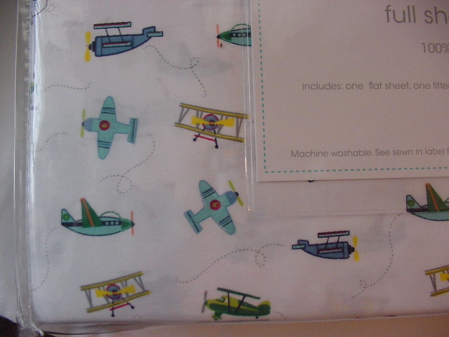 Authentic Kids Airplanes on White Cotton Sheet Set Full